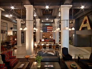 The lobby of the Ace Hotel, New York (tattooed freelancers not included)